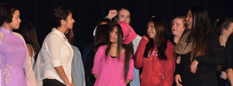 group if highsschool kids in a performance about human rights