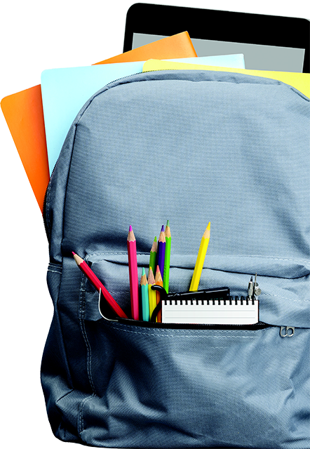 light blue backpack with colored pencils, folders and a tablet