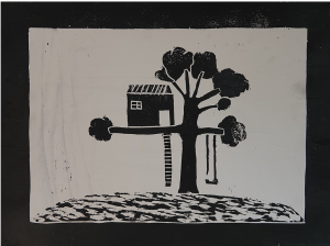 artwork, black and white tree house lino print