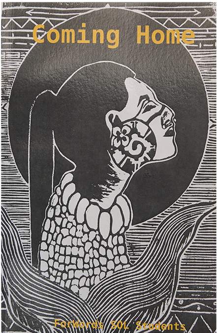 coming home book cover, balck and white lino print art of a woman