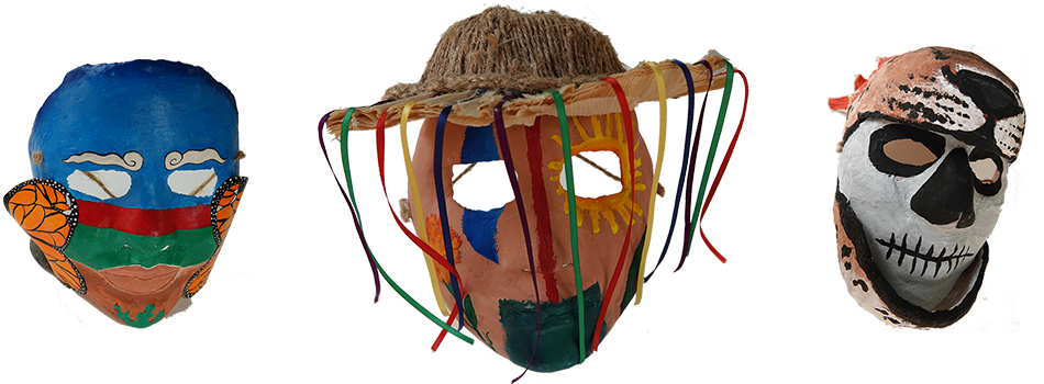 student art, masks decorated with cultural inspirations